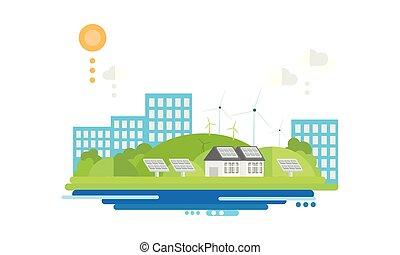 cidade, eco, energia, modernos, ilustração, fontes, vetorial, alternativa, amigável