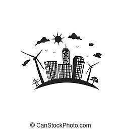 cidade, eco, energia, vetorial, ícone, renovável