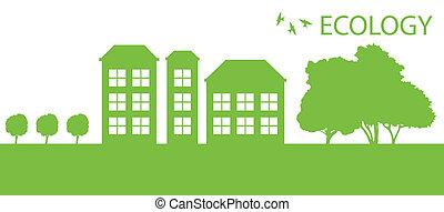 cidade, ecologia, eco, vetorial, experiência verde, vila, ou