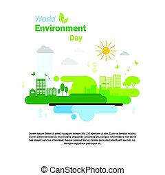 cidade, ecologia, saudação, meio ambiente, proteção, verde, mundo, feriado, dia, cartão