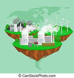 cidade, ecologia, tecnologia, poder, conceito, energia, ícones, ilustração, meio ambiente, electricidade, vetorial, verde, recursos, solar, renovável, novo, alternativa, salvar, vento