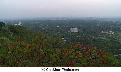cidade, edifícios, ao redor, poucos, verde, vegetação