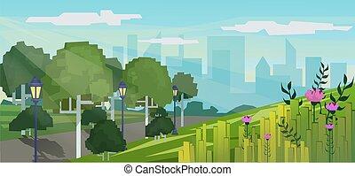 cidade, edifícios, arranha-céus, modernos, parque, estilo, ilustração, pixel, experiência., jogo, vetorial, público