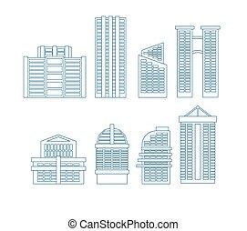 cidade, edifícios, edifícios., set., high-rise, ilustração, vetorial, linha, ícone, arranha-céus