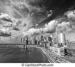 cidade, edifícios, eua, york, novo, pôr do sol