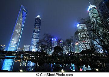 cidade, edifícios, finanças,  &,  lujiazui,  Shanghai, urbano, paisagem