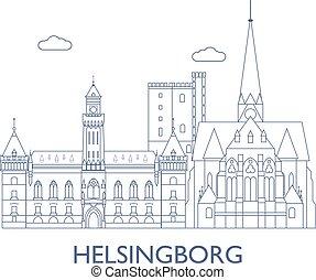 cidade, edifícios, helsingborg., maioria, famosos
