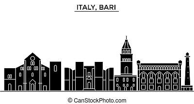 cidade, edifícios, itália, viagem, vistas, isolado, marcos, bari, vetorial, arquitetura, fundo, cityscape, skyline