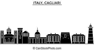 cidade, edifícios, itália, viagem, vistas, isolado, marcos, vetorial, arquitetura, fundo, cityscape, skyline, cagliari
