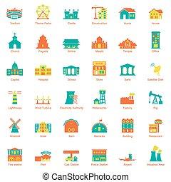 cidade, edifícios, jogo, ícone