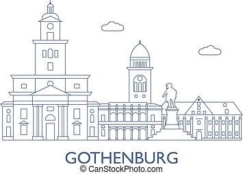 cidade, edifícios, maioria, gothenburg., famosos