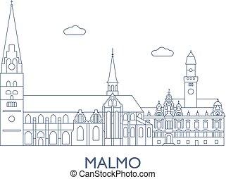 cidade, edifícios, maioria, malmo, famosos