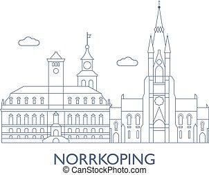 cidade, edifícios, maioria, norrkoping, famosos