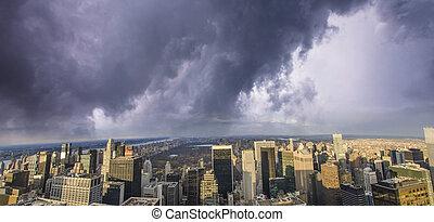 cidade, edifícios, nuvens, york, acima, novo
