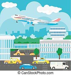 cidade, edifícios, ocupado, barramentos, aeroporto, táxis,...