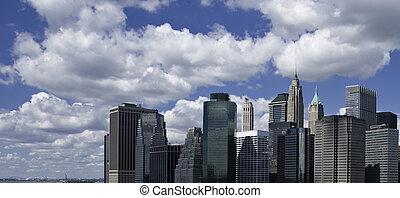 cidade, edifícios, panorâmico, york, novo, vista