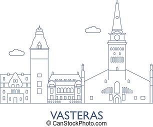 cidade, edifícios, vasteras, maioria, famosos