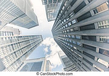 cidade, edifícios, york, novo, vista, cima