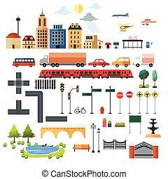 cidade, elementos, desenho, ícones