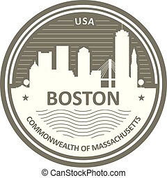 cidade, emblema, boston, -, skyline, emblema