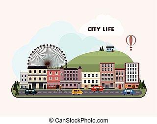 cidade, encantador, desenho, paisagem, apartamento