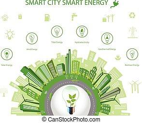 cidade, energia, conceito, esperto