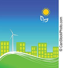 cidade, energia, limpo, usando