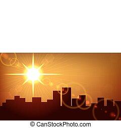 cidade, eps10, experiência., vetorial, pôr do sol, file.