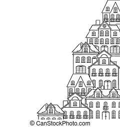 cidade, esboço, casas, desenho, fundo, seu