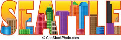 cidade, esboço, cor, texto, ilustração, skyline, seattle