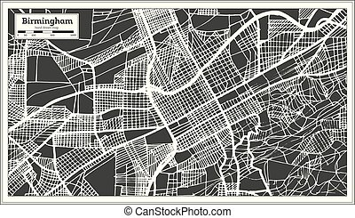 cidade, esboço, eua, mapa, map., birmingham, retro, alabama, style.