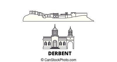 cidade, esboço, ilustração, set., landmarks., símbolo,...
