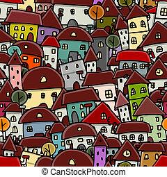 cidade, esboço, padrão, seamless, desenho, seu