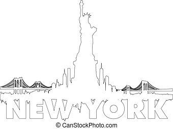 cidade, Esboço,  Skyline, vetorial,  York, Novo