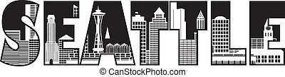 cidade, esboço, texto, ilustração, skyline, seattle