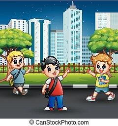 cidade, escola, andar, crianças, estrada, feliz