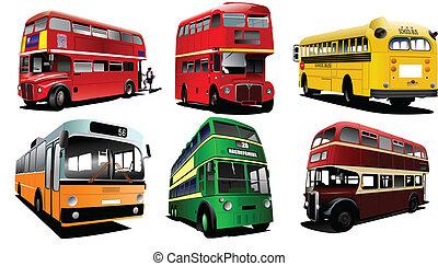 cidade, escola, seis, buses., bus., coach.