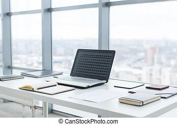 cidade, escritório, janelas, laptop, trabalho, confortável, caderno, local trabalho, tabela, vista.
