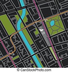 cidade, esquema, transporte, mapa