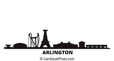 cidade, estados, isolado, unidas, viagem, pretas, skyline, illustration., cityscape, arlington, vetorial