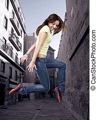 cidade, estilo, dançarino, hip-hop, femininas