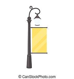 cidade, estilo, illustration., luz, símbolo, isolado, experiência., vetorial, anunciando, billboard, branca, ícone, caricatura, estoque