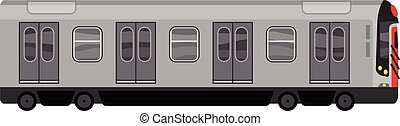 cidade, estilo, trem, metrô, ícone, caricatura