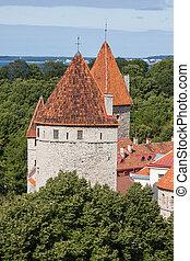 cidade, estonia), (tallinn, antigas, vista