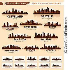cidade, eua, 10, set., skyline, #2, cidades