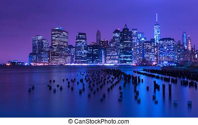 cidade, eua, skyline, york, novo, manhattan, noturna