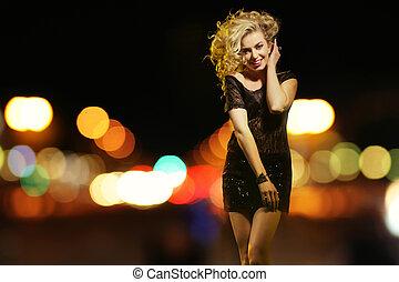 cidade, excitado, mulher, noturna