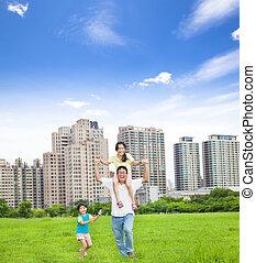 cidade, executando, parque, família, feliz