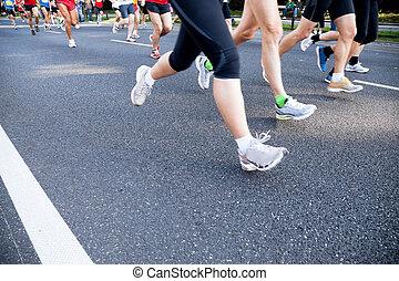 cidade, executando, rua, maratona, pessoas