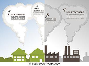 cidade, fábrica, enviroment, vs, verde, poluição